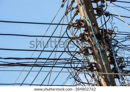 Tangled Electrical Wire On Electricity Post Stock Photo 355724513 ...
