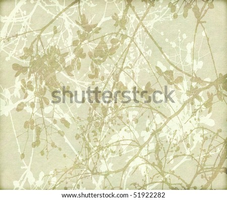 tangled flowers and branches in earth tones textured background - stock photo