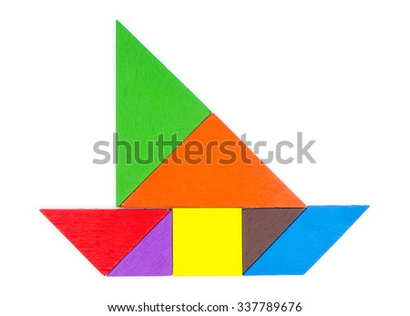 Tangram wooden isolated on white - stock photo