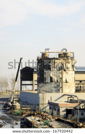 TANGSHAN - NOVEMBER 20: The industrial workshop and equipment after the fire, November 20, 2013, tangshan city, hebei province, China.
