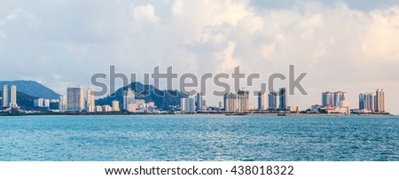 Tanjung Bungah high rise building view with mountain and sea, Penang Malayisa