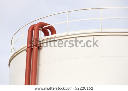 tank detail for petrol and oil in tank farm - stock photo