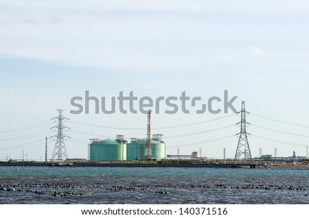 Tank farm in petrochemical industry in Thailand - stock photo