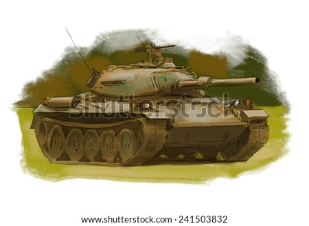 Tank hand drawn colorful illustration - stock photo
