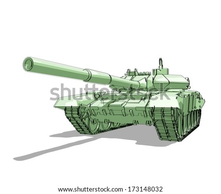Tank hand drawn illustration - perspective view - stock photo
