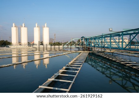 Tank in water plant treatment - stock photo