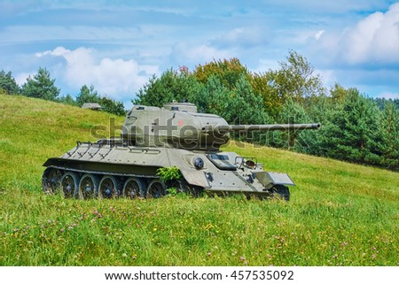 Tank of Second World War on the Battle Field - stock photo
