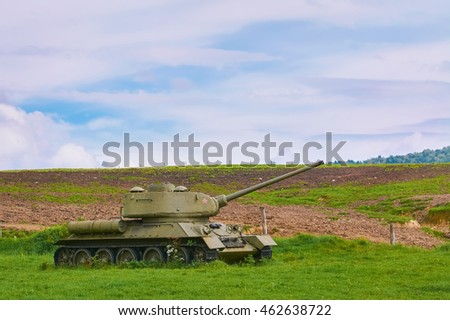 Tank of  World War 2 on the Field