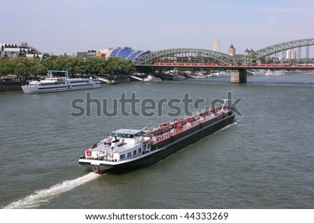 Tanker barge on Rhine river, Cologne, Germany. Fuel transportation. - stock photo