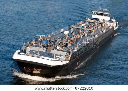 Tanker barge on the German Rhein river. - stock photo