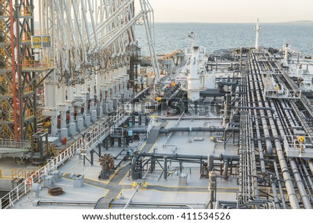 Tanker is discharging to the terminal - stock photo