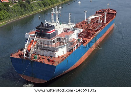 tanker on Kiel Canal - stock photo