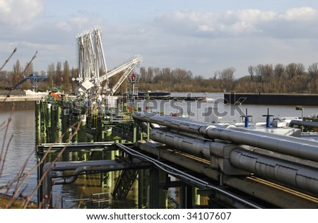 Tanker Terminal for Petroleum Products  - River Rhine - stock photo