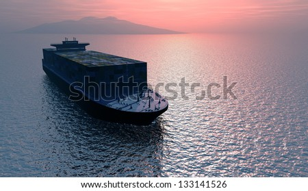 Tanker truck in the sea at dawn. - stock photo