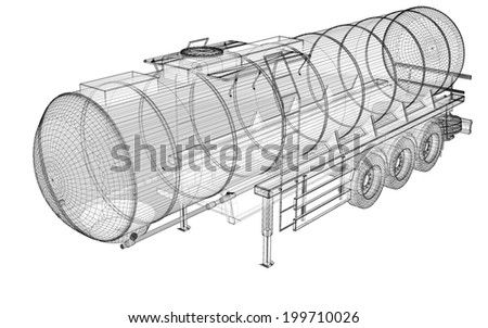 Tanker Truck Isolated Logistics - Trucking body structure , wire model