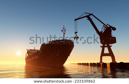 Tanker trucks at the port. - stock photo