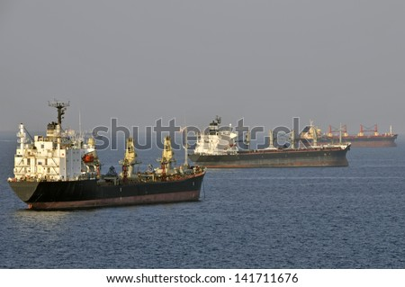 Tankers dropped anchor off coast of Fujairah in the Gulf of Oman - stock photo