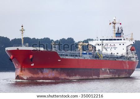 Tankership in Hamburg, Germany - stock photo