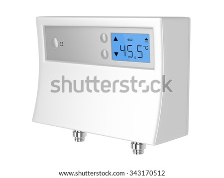 Tankless water heater with digital water temperature controller, isolated on white background