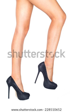 Tanned legs isolated - high heels