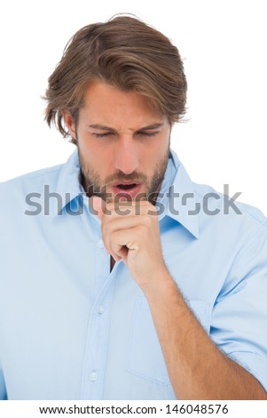 Tanned man having a coughing fit on white background - stock photo