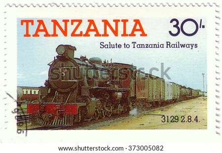 TANZANIA - CIRCA 1991: A stamp printed by Tanzania shows an old locomotive produced in United Kingdom 1972, circa 1991.