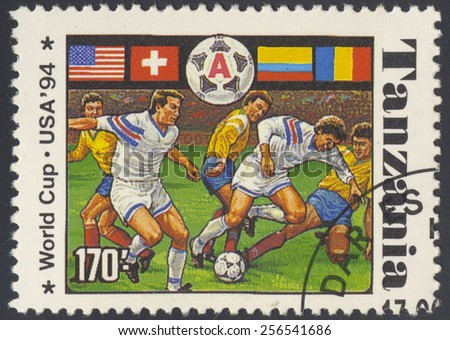 TANZANIA - CIRCA 1994: A stamp printed in Tanzania dedicated to FIFA World Cup, USA, 1994 shows footbal players, series, circa 1994.  - stock photo