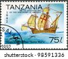 TANZANIA - CIRCA 1992: A stamp printed in Tanzania devoted to 500th anniversary of the discovery of America, shows Ships of Columbus Santa Maria�, circa 1992 - stock photo