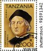 TANZANIA - CIRCA 1992: A stamp printed in Tanzania devoted to 500th anniversary of the discovery of America, shows Christopher Columbus, circa 1992 - stock photo