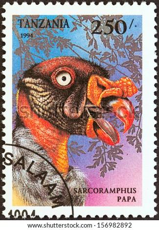 "TANZANIA - CIRCA 1994: A stamp printed in Tanzania from the ""Birds of Prey"" issue shows King vulture (Sarcoramphus papa), circa 1994.  - stock photo"