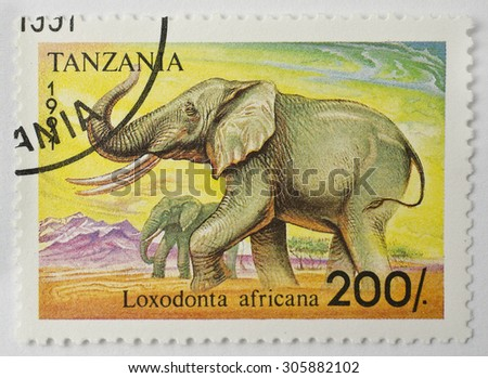 TANZANIA - CIRCA 1991: a 200 Tanzania Shilling stamp printed in Tanzania shows image of an African bush elephant (Loxodonta africana), series, circa 1991.  - stock photo