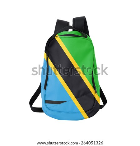 Tanzania flag backpack isolated on white background. Back to school concept. Education and study abroad. Travel and tourism in Tanzania - stock photo