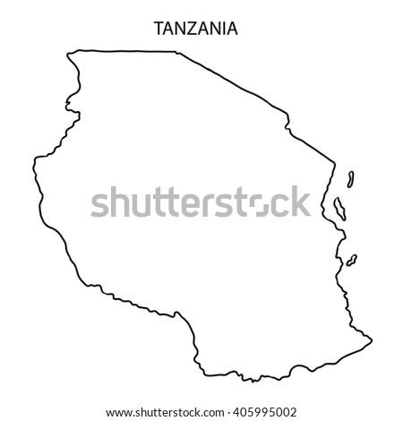 Map Black Outline Tanzania Stock Vector Shutterstock - Tanzania map download