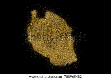 Tanzania shaped from golden glitter on a black background (series)