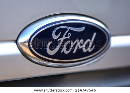 TAORMINA, ITALY - APRIL 28, 2014: Detail of the Ford car in Taormina. Ford Motor Company is an American multinational automaker  founded by Henry Ford on June 16, 1903