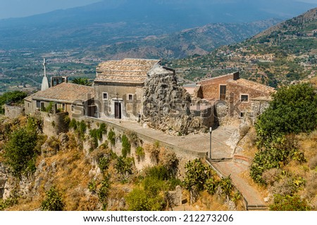 Taormina town old church view from high. Sicily, Italy - stock photo
