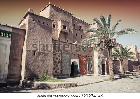 Taourirt Kasbah in berber town Ouarzazate, Morocco. It is one of the most impressive kasbahs in the country, famous and very touristic - stock photo