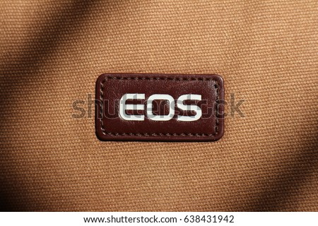 Taoyuan, Taiwan - June 18, 2016 : Canon's camera bag EOS logo in Longtan.