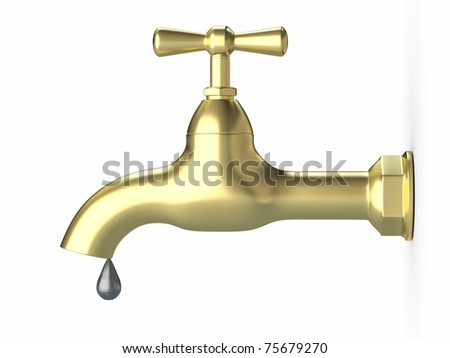 Tap and drop on white isolated background. 3d