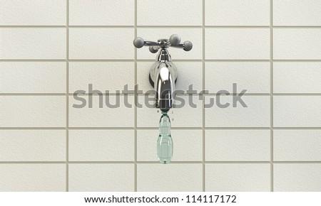 tap water drop falling down a metal tap - stock photo