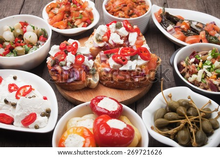 Tapas or antipasto food, mediterranean cold buffet great for parties - stock photo