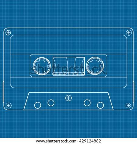 Tape cassette. Illustration. Raster version - stock photo