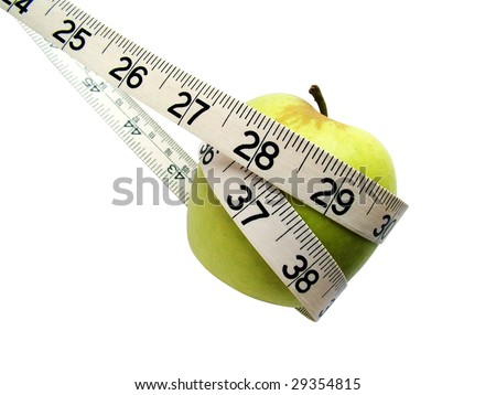 Tape measure around apple
