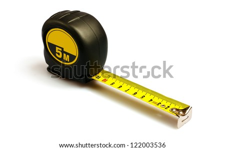 Tape measure. Isolated on white. - stock photo