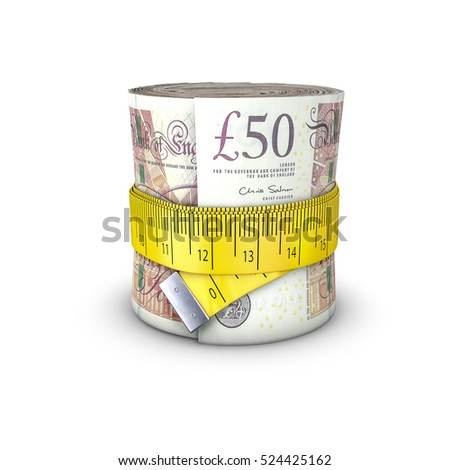 Tape measure pounds / 3D illustration of measuring tape tightening around roll of bank notes
