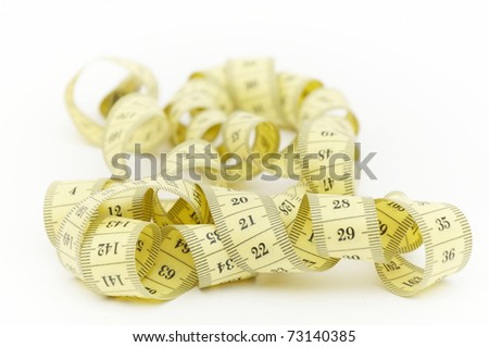 Tape Measure with white background close up shot