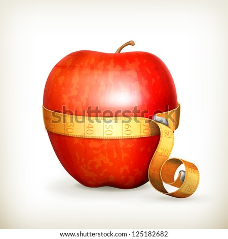 Tape measurement and apple, bitmap copy - stock photo