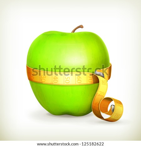Tape measurement and green apple, bitmap copy - stock photo