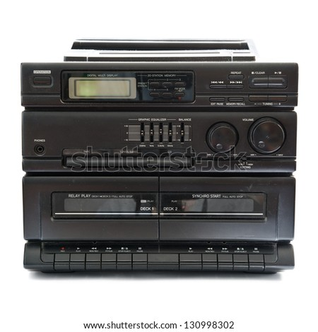tape recorder isolated on a white background - stock photo