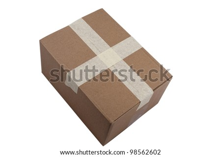 Taped, Closed Cardboard box on isolated background